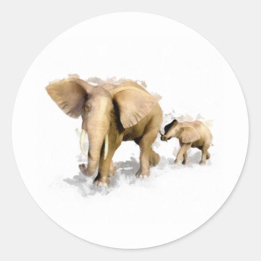 Elephant Mother & Child 1 Classic Round Sticker