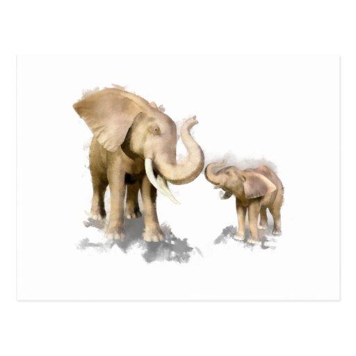 Elephant Mother & Child 2 Postcard