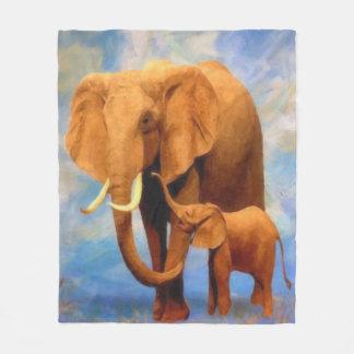 Elephant Mother Cute Baby Elephant Fleece Blanket