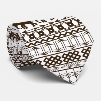 Elephant Motif, African Design Horizontal Stripes Tie