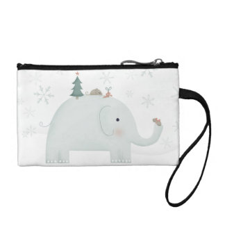 Elephant & Mouse exchanging Christmas presents Coin Purse