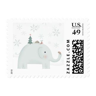 Elephant & Mouse exchanging Christmas presents Postage