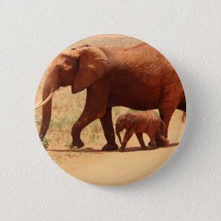Elephant Mummy and Cub Pinback Button