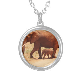 Elephant Mummy and Cub Silver Plated Necklace