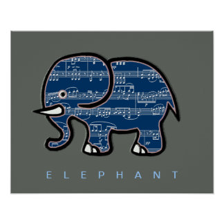 elephant & music notes poster