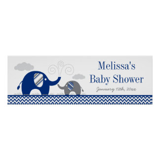 Elephant Navy Blue Gray Baby Shower Banner Poster