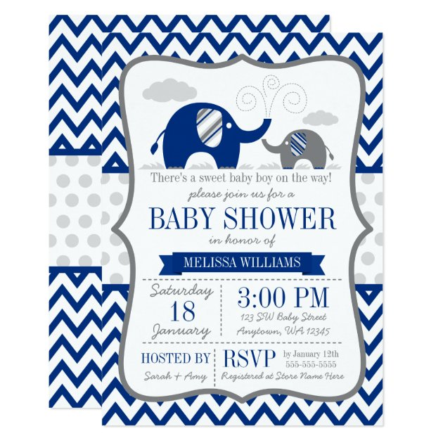 Elephant Navy Blue Gray Baby Shower Card Zazzle