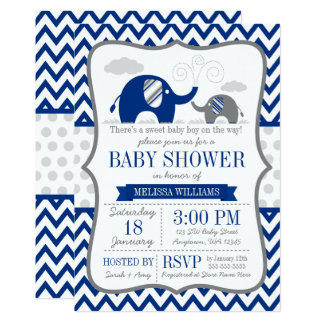 Elephant Navy Blue Gray Baby Shower Invitation