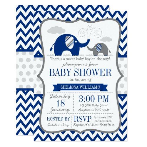 Elephant Navy Blue Gray Baby Shower Invitation