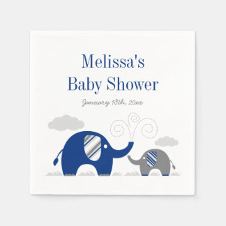 Elephant Navy Blue Gray Baby Shower Paper Napkin