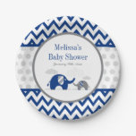 Elephant Navy Blue Gray Baby Shower Paper Plate