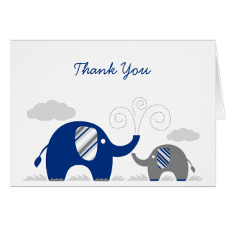 Elephant Navy Blue Gray Baby Shower Thank You Card