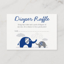 Elephant Navy Blue Gray Diaper Raffle Ticket Enclosure Card