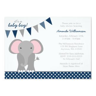Elephant Navy Polka Dot Banner Boy Baby Shower Card