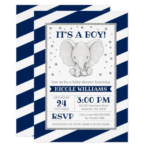 Elephant Navy Stripes Boy Baby Shower Invitations