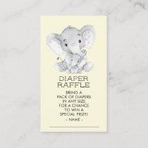 Elephant Neutral Baby Shower Diaper Raffle Ticket Enclosure Card