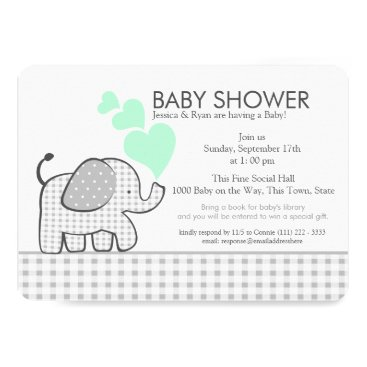 Valentines Themed Elephant Neutral Mint and Grey Gingham Baby Shower Card