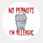 Elephant NO Peanuts I'm Allergic Classic Round Sticker