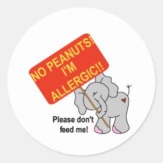 Elephant No Peanuts Round Stickers