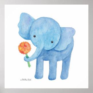 Elephant Nursery Art Print Cute Elephant Poster