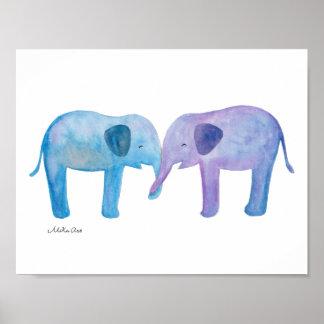 Elephant Nursery Art Print Elephant Friends Poster