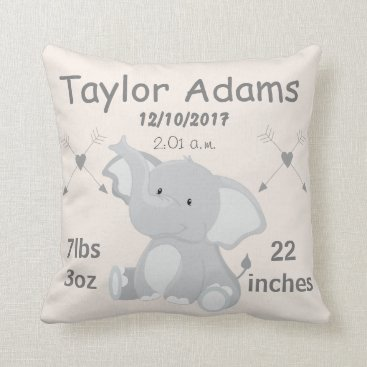 MissRhoadie1981 Elephant Nursery Baby Birth Stats Throw Pillow