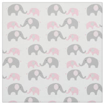 Elephant Nursery Fabric Pink & Grey