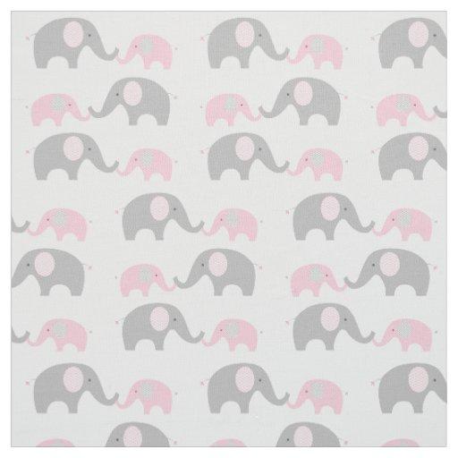 Elephant nursery fabric pink grey zazzle for Pink nursery fabric
