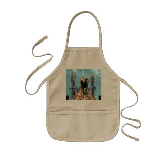Elephant on a jetty over the ocean kids' apron
