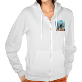 Elephant on a jetty over the ocean sweatshirts