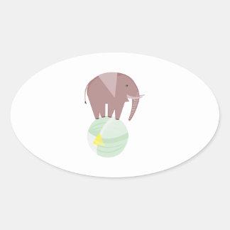 Elephant On Ball Oval Sticker