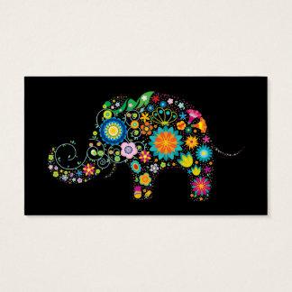 Elephant on Black Business Card