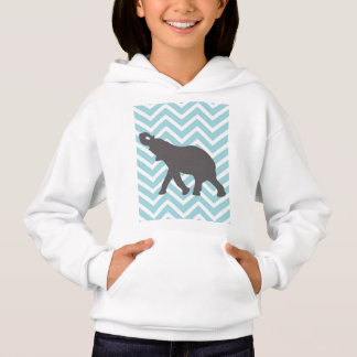 Elephant on Chevron Zigzag - Aqua Blue and White Hoodie