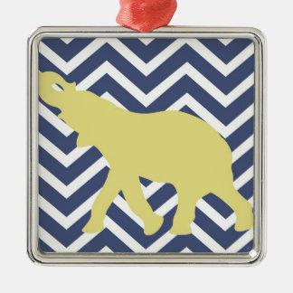 Elephant on Chevron Zigzag - Blue,Yellow and White Metal Ornament