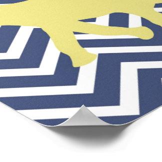 Elephant on Chevron Zigzag - Blue,Yellow and White Poster