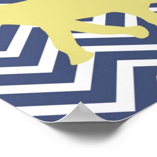 Elephant on Chevron Zigzag - Blue,Yellow and White Print