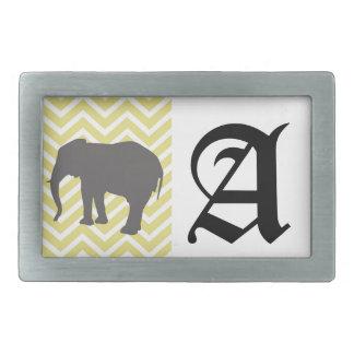 Elephant on Chevron Zigzag - Yellow and White Belt Buckle