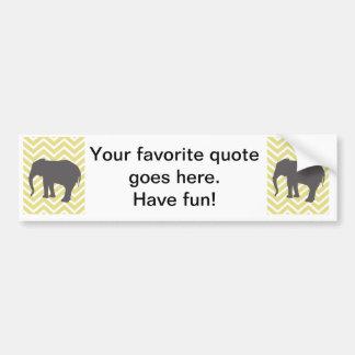Elephant on Chevron Zigzag - Yellow and White Bumper Sticker