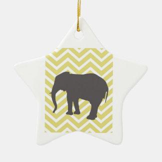 Elephant on Chevron Zigzag - Yellow and White Ceramic Ornament