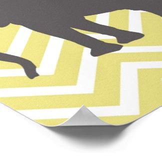 Elephant on Chevron Zigzag - Yellow and White Poster