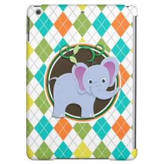 Elephant on Colorful Argyle Pattern iPad Air Cases