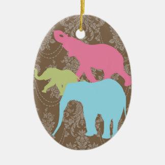 Elephant on Damask Floral - Brown and Violet Ceramic Ornament
