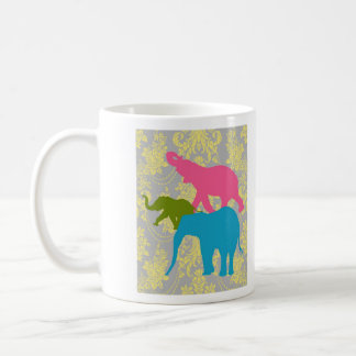 Elephant on Damask Floral - Pink, Blue and Green Coffee Mug