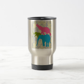 Elephant on Damask Floral - Pink, Blue and Green 15 Oz Stainless Steel Travel Mug