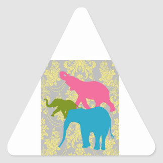 Elephant on Damask Floral - Pink, Blue and Green Triangle Sticker