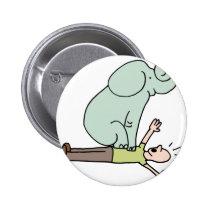 Elephant on Man Chest Asthma Button