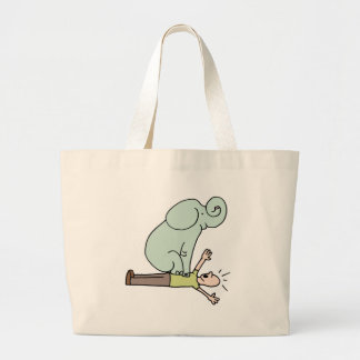 Elephant on Man Chest Asthma Large Tote Bag