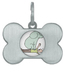 Elephant on Man Chest Asthma Pet Tag