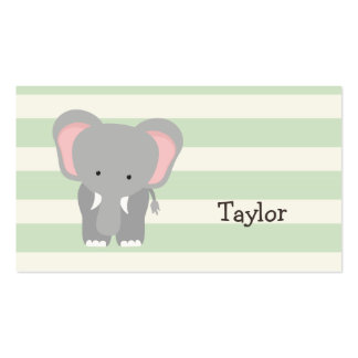 Elephant on Pastel Green Stripes Business Card