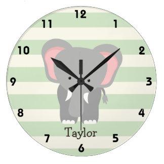 Elephant on Pastel Green Stripes Wall Clock
